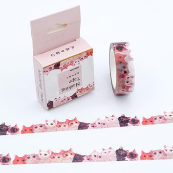2017 Japanese Washi Tape Lot Red Color Cat Patterns Decorative Adhesive Masking Paper Tapes Set 1PCS