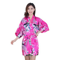 Essential Women Silk Satin Long Wedding Bride Bridesmaid Robe Peacock Bathrobe Floral Kimono Robe