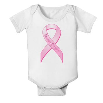 Pink Breast Cancer Awareness Ribbon - Stronger Everyday Baby Romper Bodysuit