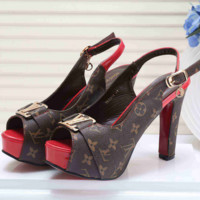 LV Leather Sandals High Heels