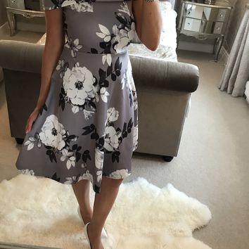 Print Short Sleeves Off Shoulder Knee-length Dress