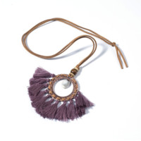 Purple Eggplant Circle Fringe Tassel Necklace With Shell Center