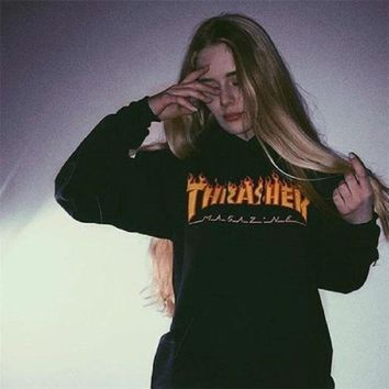 Thrasher Monogram Print Cotton Long Sleeve T Shirt Tee Top
