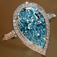 Blue pear center diamond 5.01 carats wedding anniversary ring gold white 14K new