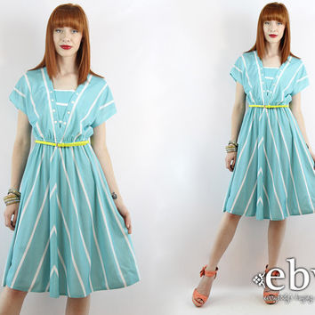 Vintage 80s Turquoise Striped Day Dress XS S Summer Dress Turquoise Dress Striped Dress Secretary Dress Work Dress XS Dress S Dress
