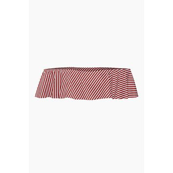 Cora Off Shoulder Bikini Top - Red Stripes