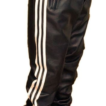 Mens Leather Track Joggers Black Relaxed Fit Smooth Nappa Sheepskin Fully Lined