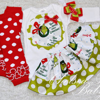 Christmas Girl Outfit, Christmas Grinch who stole Christmas Girls outfit, Girls grinch shirt, Baby Grinch outfit, Baby's first Christmas,