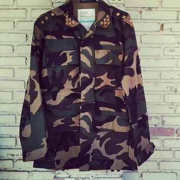 20% Off Sale Vintage Reworked Studded Military Camo Jacket / Military Camouflage Jacket Size: M