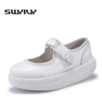 Genuine Leather 4.5CM Women Swing Shoes Thick Soles Wedge Toning Shoes Lacing Slimming Women Sneakers White Nurse Shoes