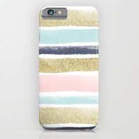 Watercolor and Glitter Stripes iPhone & iPod Case by Heartlocked