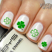 "20 "" St Patrick 4 Leafs Clover 1 "" Text Love Red Heart "" Quality Water Slide/Transfer Nail Art Accessory Manicure Decals by HipZySticKy"