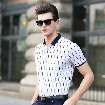 Summer Men's Fashion Men Print Casual Short Sleeve Pullover Cotton T-shirts [6543963011]