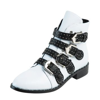 White Pointed Contrast Buckle Strap Studs Detail Ankle Boots