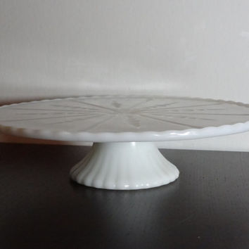 "Vintage Milk Glass Scalloped Edge Pedestal Cake Stand with Starburst Design - 10 1/4"" Diameter - Wedding Cake Stand"