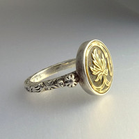 Vintage Sterling Silver Antique Button Ring