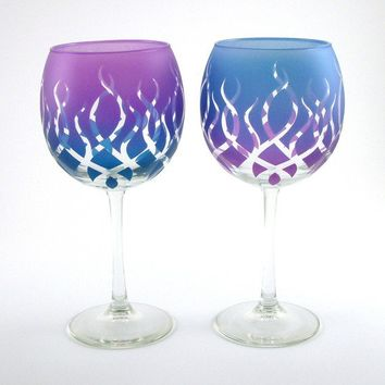 Wine Glasses - Strands - Pair - Purple and Blue - Alternating - Custom Painted and Etched Glassware