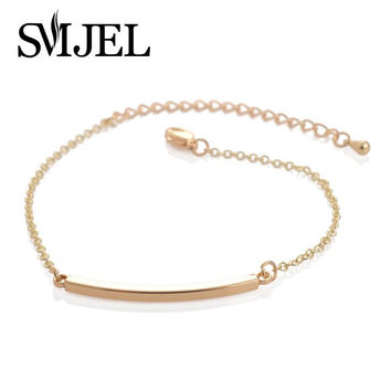 SMJEL 2017 New Fashion Jewelry Bracelet Femme Copper Curved Bar Bracelets for Women Simple Bend Bar Bracelets Party Gifts
