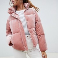 ASOS DESIGN ultimate puffer in velvet with funnel neck at asos.com