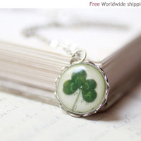 Clover necklace Four Leaf Clover Lucky necklace by BeautySpot