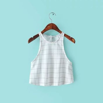 Crop Top Backless Plaid Sleeveless Vest T-shirts [6050419329]