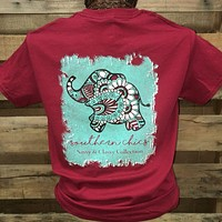 Southern Chics Sassy Classy Collection Preppy Elephant Distressed Bright T Shirt