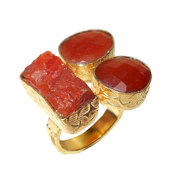 Carnelian Ring - Unique Design Ring, Fashion Ring, Gemstone Ring, Gold Plated Ring, Bezel Setting Ring, Raw Gemstone Ring, Latest Design