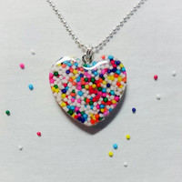 Heart Filled with Sprinkles in a Rainbow of Colors, Cute, Kawaii, Lolita, Candy Cosplay, Pastel Goth, Resin Pendant Necklace