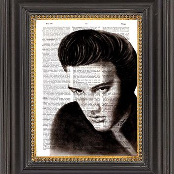 Elvis Presley Wall Art, Oil Painting Print on Antique Dictionary Paper, Wall Decor, Elvis Print on Vintage Dictionary Paper