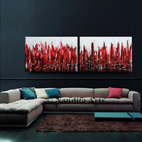 """Red and Black Cityscape Art, 72"""" Landscape Painting, Abstract Acrylic painting on Canvas, Wall Art, Home Decor, Surreal art, By Nandita"""