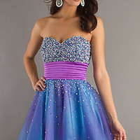 Strapless Blue Short Dress by Dave and Johnny