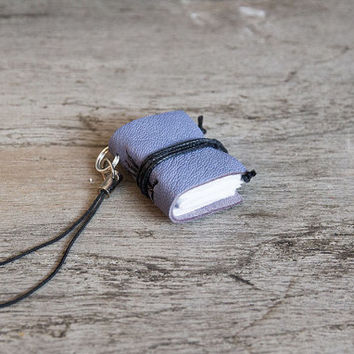 Cell phone charm, leather charm keychain, mini book phone strap, miniature book charm, book lover, literature jewelry, book club