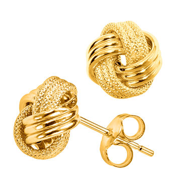 10K Yellow Gold Shiny And Textured Triple Row Love Knot Stud Earrings - 10mm