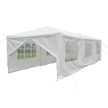 10'x30' 8 SideWalls Canopy Party Wedding Tent White Gazebo Pavilion White Color
