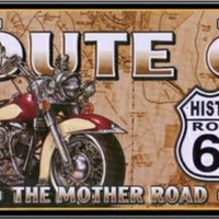Route 66 Motorcycle  Sign Tag