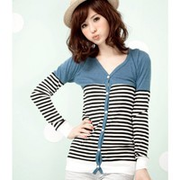Blue Clothing Women Apparel New Style Stripe Autumn Apparel Long Sleeve Cotton Coat One Size @GP0016bl $11.19 only in eFexcity.com.