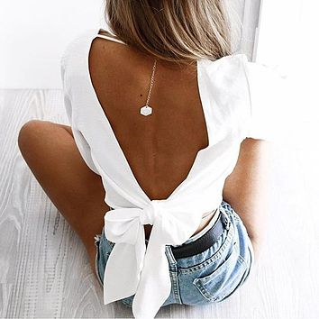 2018 Sexy V-Neck Backless T-Shirt