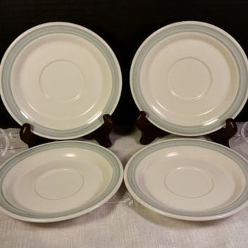Country Glen Sunny Meadows Saucers Set of 4 Small Plates Japan Stoneware Blue and Cream Saucers Replacement China Oven Dishwasher Microwave