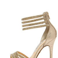 Nina Fergie Taupe and Gold Rhinestone Dress Sandals
