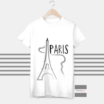 T shirt Bonjour Paris Eiffel Tower T shirt for Men and Women