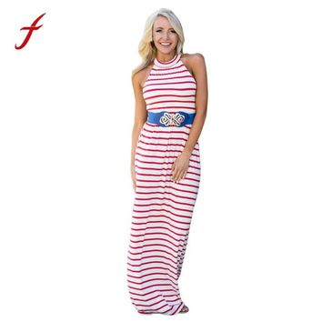 July 4th Womens Print  Sexy Sleeveless Striped Floor Length Long Dress