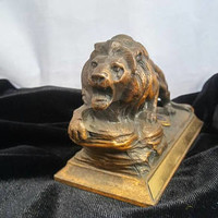 ON SALE Vintage-Lions-Club-International-Statue-Paperweight - Very Nice Man Cave Home Decor Display Collectible Figurine