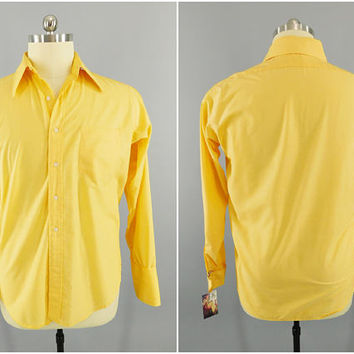 Vintage 1960s - 1970s Shirt / Yellow French Cuffs / Famous Barr Hathaway /  Button Down Dress Shirt / XXL Tall 48""