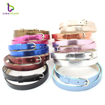 Hot Sale!!8mm litchi grain PU leather Wristband Bracelet Fashion Accessory Fit for Slide Letters Charms High quality! LSBR033*10