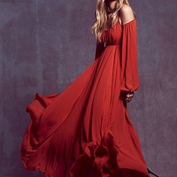 Free People Womens Ruby Red Sun Maxi