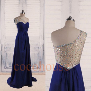 Dark Royal Blue Beaded Long Prom Dresses 2015, One Shoulder Bridesmaid Dresses, Evening Dresses, Wedding Party Dresses, Formal Party Dresses