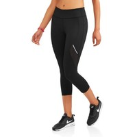 Women's Active Allover Print Performance Capri Legging with Mesh Inserts - Walmart.com