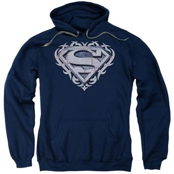 Superman - Tribal Steel Shield Adult Pull Over Hoodie