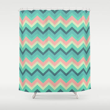 Vintage Turquoise Pastel Tiffany Chevron Pattern Shower Curtain by RexLambo