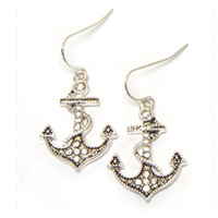 """Anchor Away"" Crystal Accented Silver Anchor Earrings"
